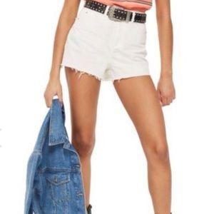 Topshop MOTO White Cut off MOM High Rise shorts 10